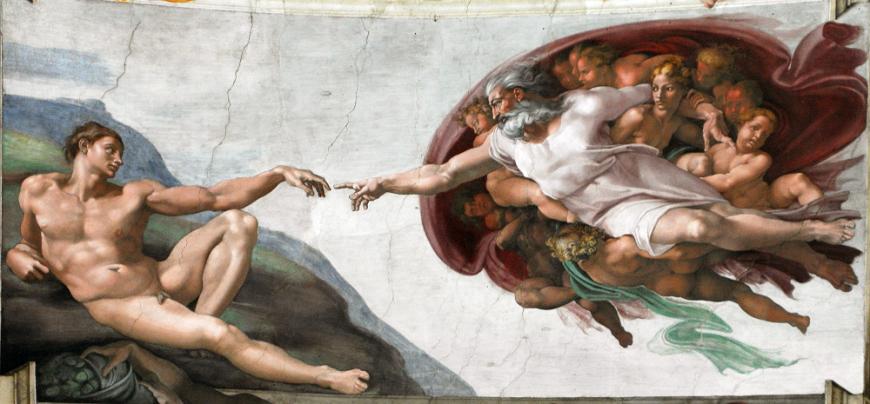 """""""A criação de Adão"""", pintura de Michelangelo na Capela Sistina."""
